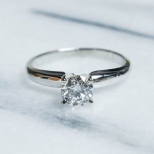 Half Carat Solitaire Diamond Ring Platinum